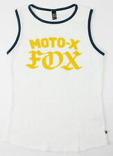 Fox Womens Moto X Ringer Waffle Muscle Tank Top White S New