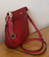 DKNY Red Saffiano Leather Small Crossbody Bag