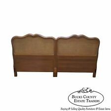 Vintage 1950s Fruitwood French Style Cane Back King Size Headboard