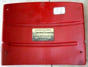 FENWAY PARK AUTHENTIC SEAT BACK-  WITH PLAQUE -#12