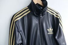 Rare Adidas Chile 62' Tracksuit jacket S Black Gold trefoil wetlook glossy VCG