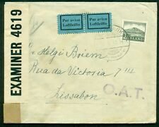 ICELAND 1942, Censored cover to PORTUGAL OAT handstamp on front