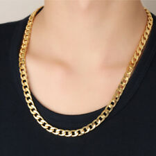 US Fashion Men's 18K Yellow Gold Plated 22in Cuban Chain Necklace 7 MM One Piece