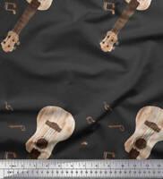 Soimoi Gris popelina de algodon Tela notas y la guitarra instrumento-qoU