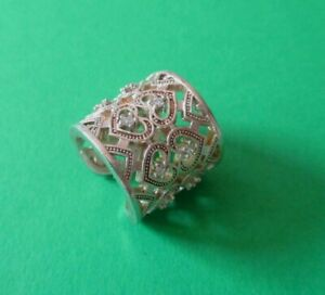 Breiter Ring. Silber 925, teilweise vergoldet. Exclusiver Silberring. 17 mm