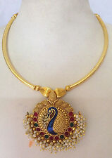 fashion temple jewelry gold tone peacock design necklace set and earring