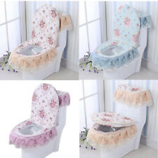 Flower Toilet Seat Cover Bathroom Closestool Mat Lid Pad Water Tank Cover 3Pcs