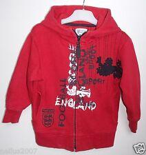 Boys Red Next England Football Logo Hoodie Zipped Hooded Jacket Cardigan Age 3