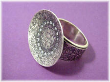 Silpada Sterling Silver Hammered, Oxidized, Textured Oval CZ Ring Size 7  R1977