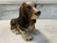 NAPCOWARE #7087 - VINTAGE BASSET HOUND PUPPY DOG CERAMIC PLANTER Adorable