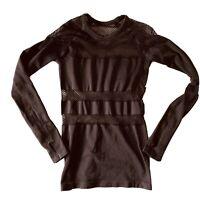 Zella All day Long Mesh  Pullover Top Size Medium Activewear Black NWT $69