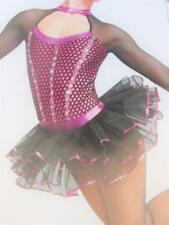 Magenta Skating Tutu Sheer Sequin Hair Ballet Jazz CLG Curtain Call Costume