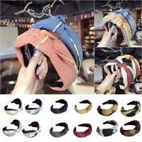Women Headband Twist Hairband Bow Knot Cross Tie Cloth Headwrap Hair Band Hoop A