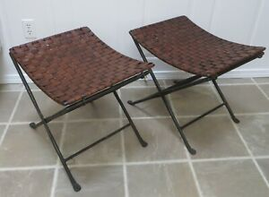 Vintage Pair HAND FORGED WROUGHT IRON & WOVEN LEATHER FOLDING STOOLS BENCHES