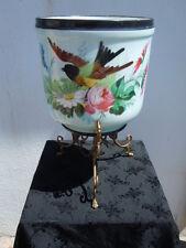 Cache pot porcelaine Paris décor fleurs oiseau d'époque 19ème