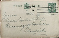 King George V ½ Penny Antique Postcard Posted 12th February 1913