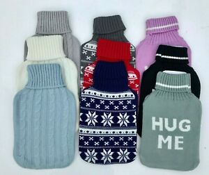 Hot Water Bottle Cover 2L Knitted Plush Soft Cover Only Various Patterns