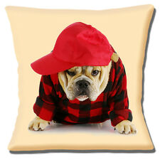 """BRAND NEW ENGLISH BULLDOG ADULT CUTE DRESSED BOY RED 16"""" Pillow Cushion Cover"""