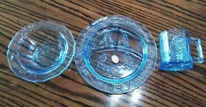 Tiara Indiana Glass Amethyst Kids Plate Set 3 Pcs