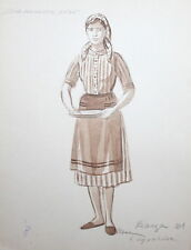VINTAGE WC PAINTING YOUNG WOMAN WITH FOLK COSTUME SIGNED