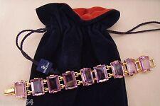 Signed Swan Swarovski Gold Plated Rectangular Pink Crystal Bracelet