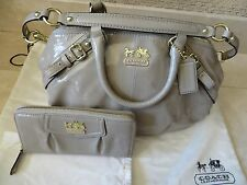 COACH Beige Madison Sophia Patent Leather Satchel Matching Zip Around Wallet