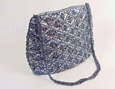 Small Purse/Hand Bag ~ Gray Beads & Sequins on Dark Gray Fabric, #CHBP17