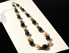 "17"" necklace black faux pearl metallic round Czech vintage glass beads findings"