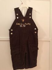 """NWOT NEW Little by Little Brown Corduroy Overalls """"Little Cowboy"""" Size 6/9-Month"""