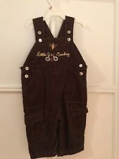 """NWT NEW Little by Little Brown Corduroy Overalls """"Little Cowboy"""" Size 6/9-Month"""