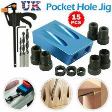 15pcs Pocket Hole Jig Kit Woodworking Guide Oblique Drill Angle Hole Locator UK