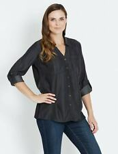 NEW Womens Rivers Long Sleeve Lyocell Notch Neck Shirt   Blouses Shirts Tops