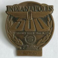 1992 Indianapolis 500 Bronze Pit Badge - Cadillac - Al Unser Jr. - Indy 500