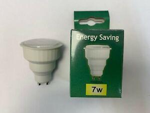 Pack of 10, Crompton GU10 240V, 7w CFL Light Bulbs, 2700k Warm White