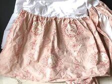 *RARE Vintage PINK Toile PAMELA KLINE Traditions QUEEN Full BEDSKIRT Dust Ruffle