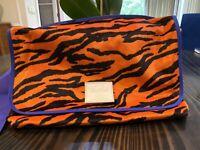 Herschel Supply Co Grade Messenger bag Fuzzy tiger stripe orange blue Fleece NEW