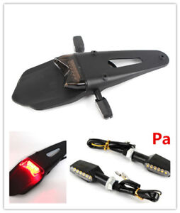 Motorcycle Bicycle Fender Brake Tail lights + Pair 12V Amber 9LED Turn Signals