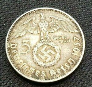 1937 J Germany 5 Mark Nazi WW II Silver Coin XF, RARE Year/Mint