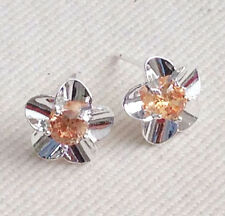925 Silver Plated Flower Stud Earrings w/ Amber Crystal Centre Ladies Girls Gift