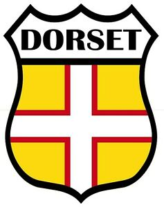 2 x Dorset County Shield Flag Self Adhesive Backed Sticker 90 mm High 75 mm Wide