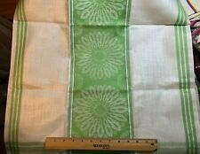 Vintage Linen Kitchen Toweling Towel Fabric Woven Green Stripes&Flowers Exc Nos