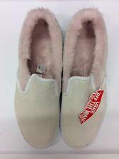 VANS Unisex Classic Slip-On P Suede/Fur VN0A3JEZUM7 White/Pink Size M9.5/W11