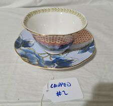 Wedgwood Butterfly Bloom Bone China Blue Design Teacup & Saucer **CHIPPED #2**