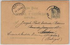 España - HISTORIA POSTAL:  ENTERO POSTAL de SEVILLA a PORTUGAL 1891