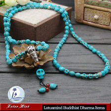 Lotusmind  Turquoise Howlite Skull 108 Buddhist mala prayer bead Mani mantra