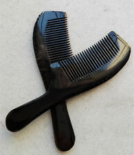 "6.6"" QiaoYaTou Nice 100% Natural Black Ox Horn Fine-toothed Health Care Comb"