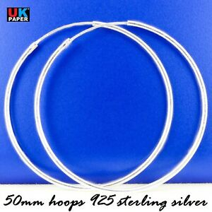 925 Sterling Silver 50mm Large Hoop Sleeper Earrings Clip Solid Rings Stud Pairs