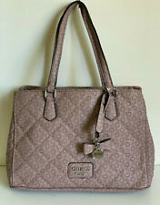 NEW! GUESS MARCIANO GLOBES DUSTY MAUVE PINK SHOPPER SATCHEL TOTE BAG PURSE SALE