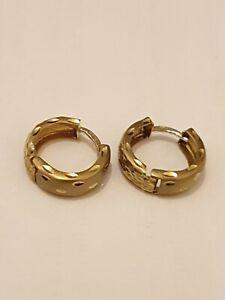 9ct/375 Yellow Gold Huggy Style Diamond cut Earrings Nice