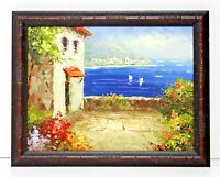 Meditteranean Coastline Seascape 12 x 16 Oil Painting on Canvas w/Custom Frame